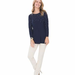 Chico's FAUX-PEARL TUNIC TOP